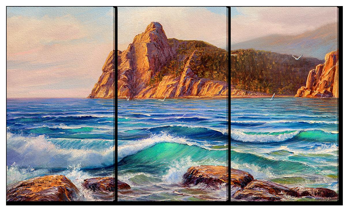 Модульная картина Interno Эко кожа Волны и камни 84х47см (A2519S)
