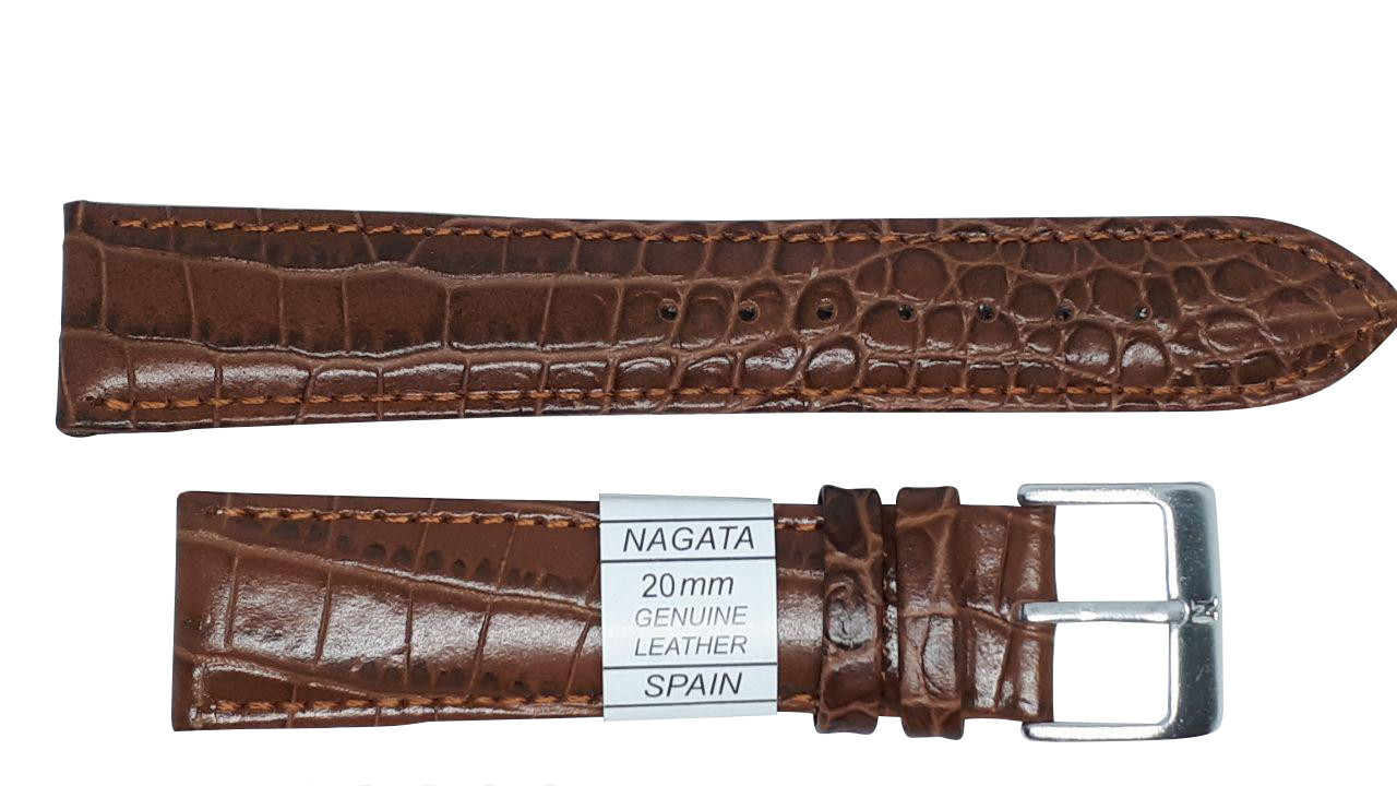 "Ремешок ""Nagata"" 20mm темно-коричневый опт"