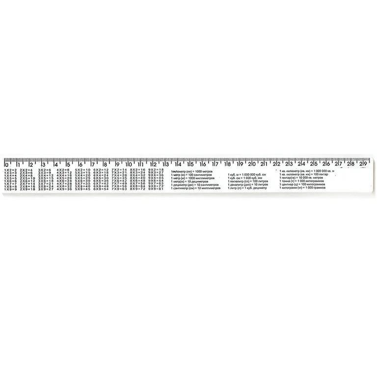 Линейка с таблицей умножения 30 см пластиковая белая Атлас, К-9052, 900250