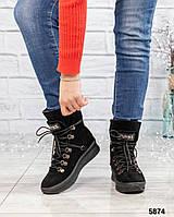 Женские Ботинки зимние с декоративной шнуровкой