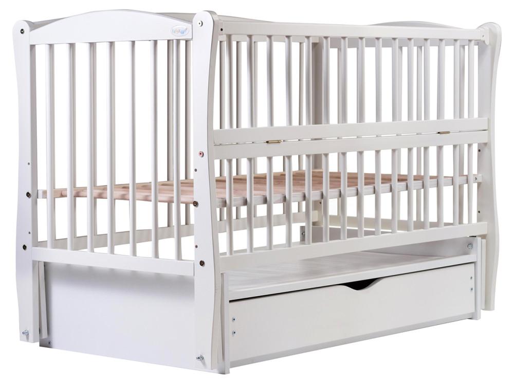 Кровать Babyroom Еліт маятник, ящик, откидной бок DEMYO-5  бук белый