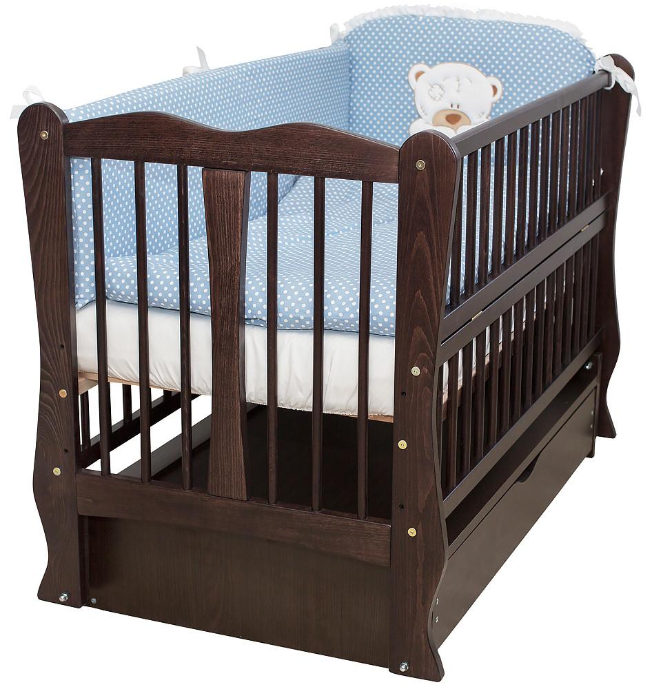 Кровать Babyroom Хвилька маятник, ящик, откидной бок DHMYO-11  бук венге