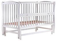 Кровать Babyroom Еліт резьба, маятник, откидной бок DER-6  бук белый, фото 1