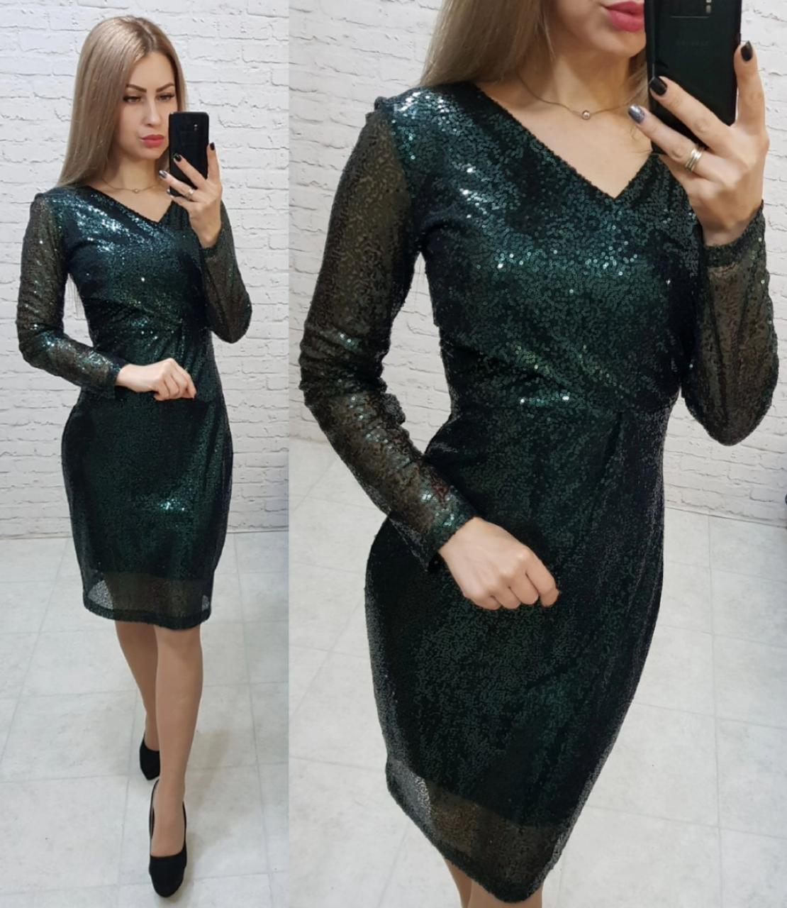 Нарядное женственное платье с V-образным вырезом, арт 139, зелёного цвета, цвет бутылочный зелёный