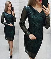 Нарядное женственное платье с V-образным вырезом, арт 139, зелёного цвета, цвет бутылочный зелёный, фото 1