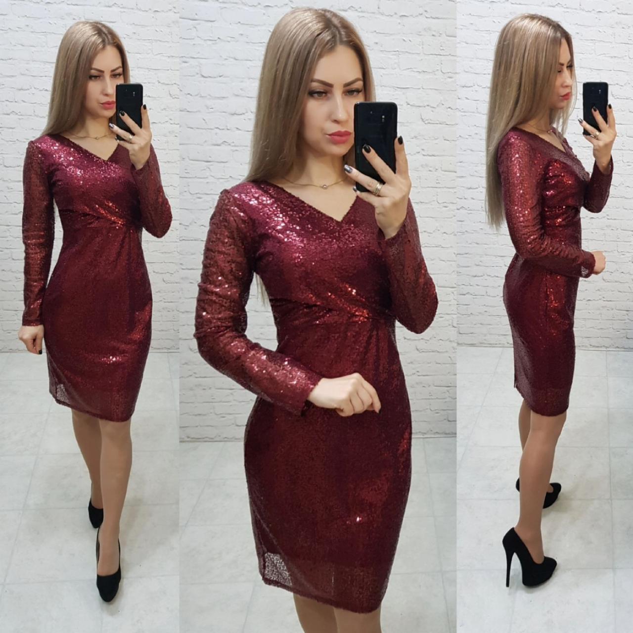 Ошатне жіночне плаття з V-подібним вирізом, арт 139, бордового кольору, колір марсала