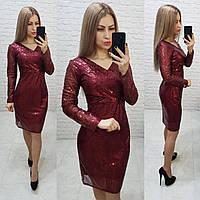 Ошатне жіночне плаття з V-подібним вирізом, арт 139, бордового кольору, колір марсала, фото 1