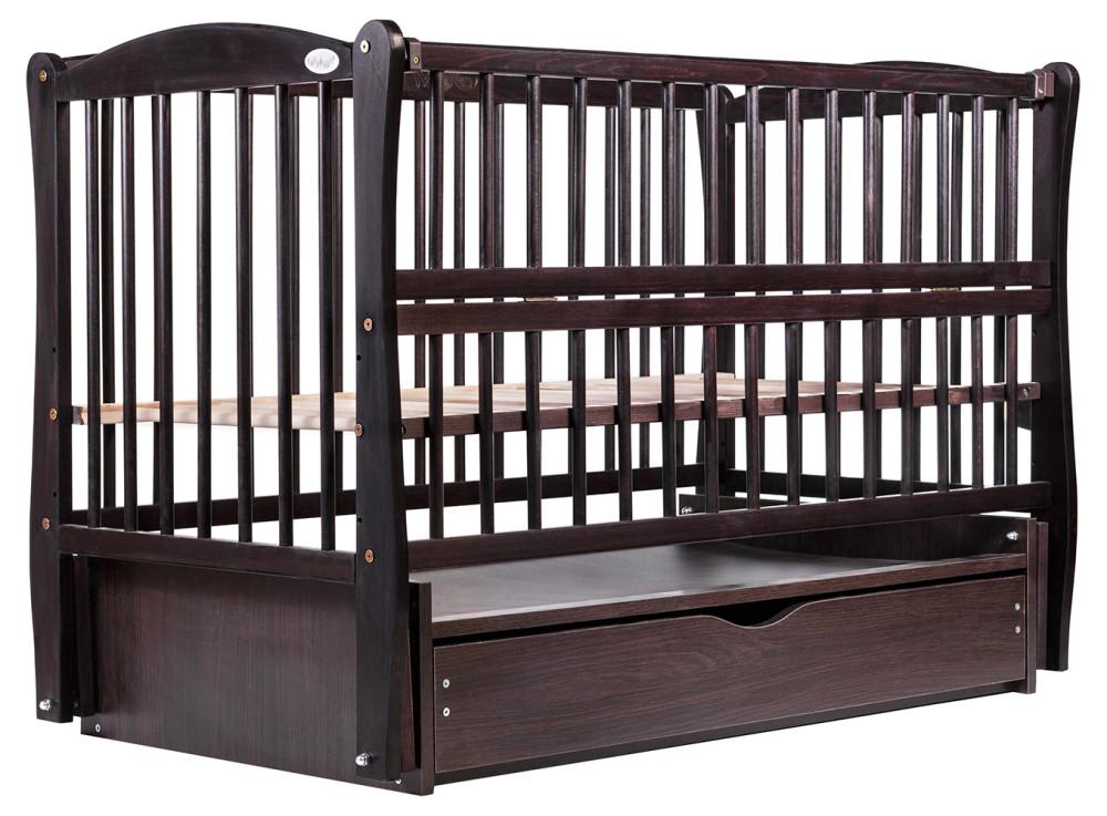 Кровать Babyroom Еліт резьба маятник, ящик, откидной бок DER-7  бук венге
