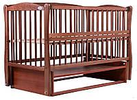 Кровать Babyroom Еліт резьба, маятник, откидной бок DER-6  бук тик, фото 1