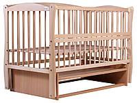 Кровать Babyroom Еліт резьба, маятник, откидной бок DER-6  бук светлый (натуральный), фото 1
