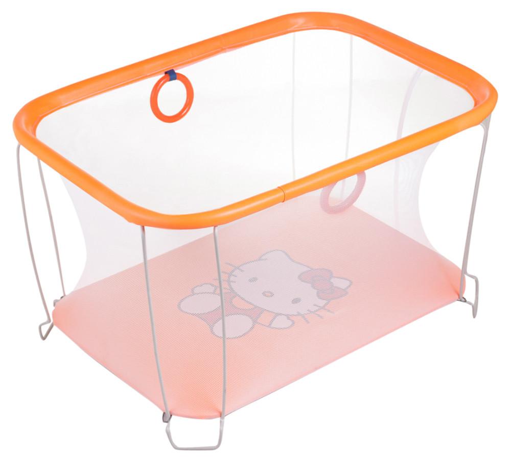 Манеж Qvatro Солнышко-02 мелкая сетка  оранжевый (hello kitty)