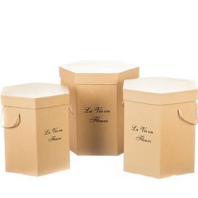 "Коробка для цветов набор 3 шт. ""La vie en fleurs"" бежевые, фото 2"