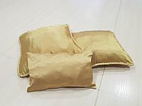 Комплект подушек 3шт  и валик беж золото с шнуром, фото 1