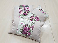 Комплект подушек   Розочки с розовой вставкой, 3шт