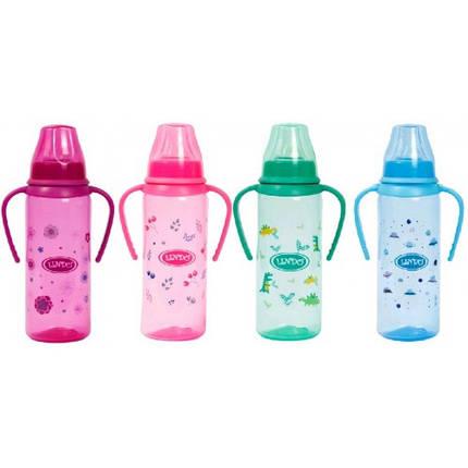 Пляшка кольорова 139 Li з ручками та силікон. соскою 250мл (тм Ліндо), фото 2