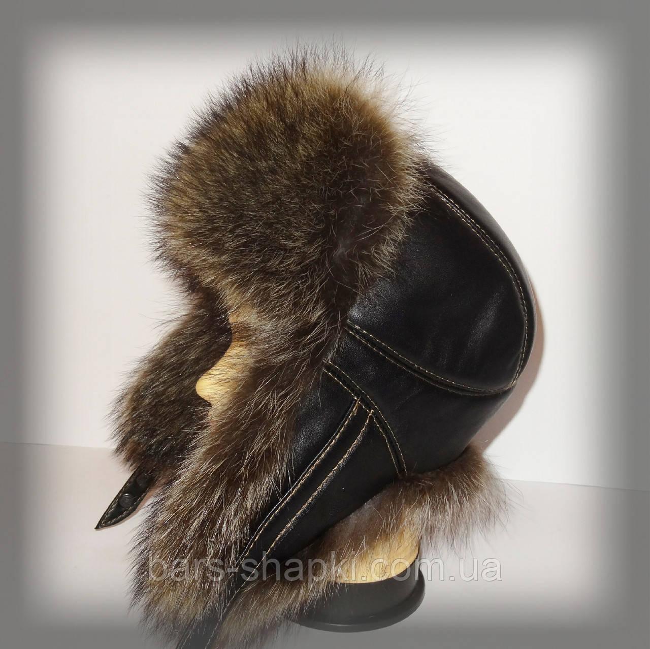 Мужская меховая шапка из енота-полоскуна (фигурная строчка)