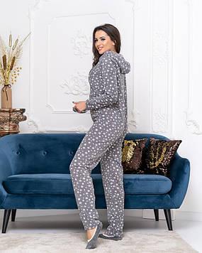 Спальный уютный женский комбинезон-пижама с капюшоном,повязкой и тапочками серого цвета из плющика..