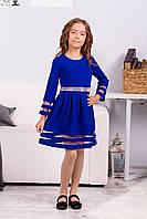 Синее нарядное платье для девочки с фатином