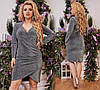 Праздничное трикотажное платье  люрекс с глубоким вырезом    (50-56)