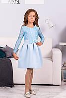 Нарядное платье детское с длинным рукавом и бантом в голубом цвете