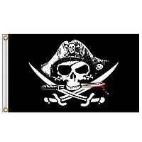 Флаг пиратский 90x150см, флаг пиратов Веселый Роджер в треуголке