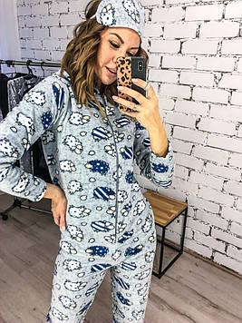 Спальный яркий уютный женский комбинезон-пижама с капюшоном,повязкой и тапочками серого цвета из коттона.