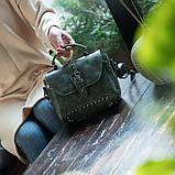 Стильна жіноча сумка класичного стилю, зелена KA-6, фото 4