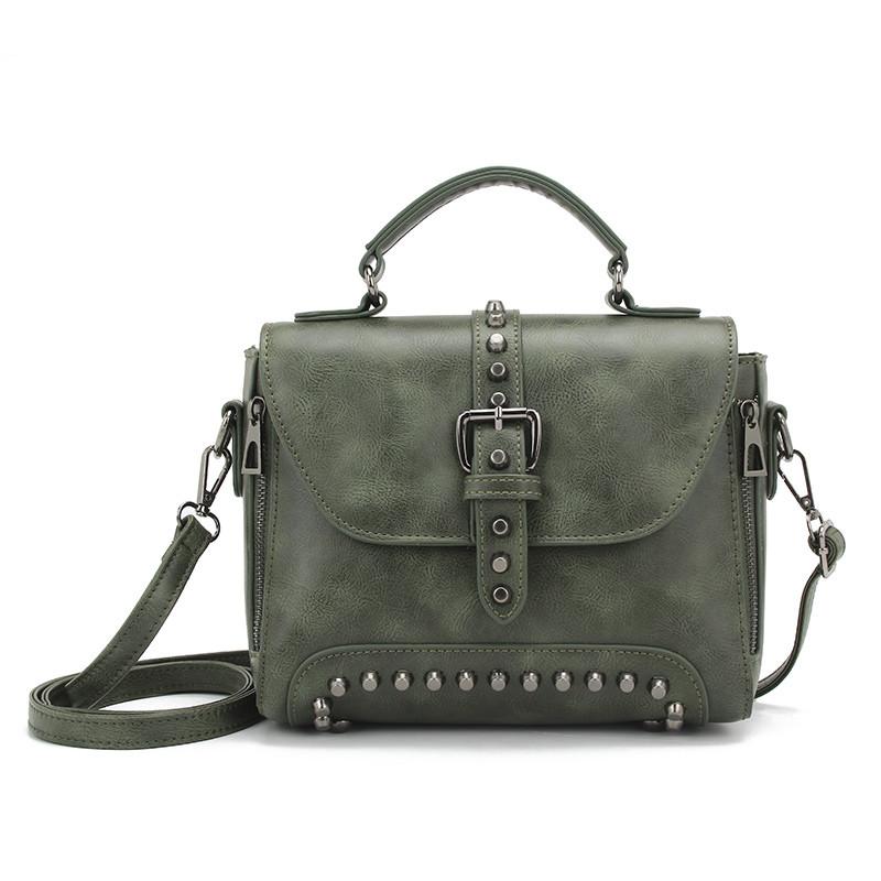 Стильна жіноча сумка класичного стилю, зелена KA-6