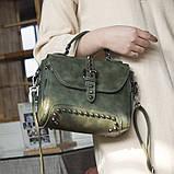 Стильна жіноча сумка класичного стилю, зелена KA-6, фото 5
