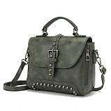 Стильна жіноча сумка класичного стилю, зелена KA-6, фото 3