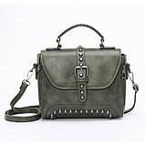 Стильна жіноча сумка класичного стилю, зелена KA-6, фото 2