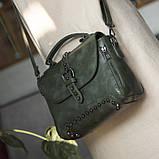 Стильна жіноча сумка класичного стилю, зелена KA-6, фото 7