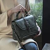 Стильна жіноча сумка класичного стилю, зелена KA-6, фото 8