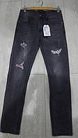 Модные черные джинсы с разрывами подростковые GRACE,разм 134-164 см