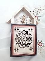 Ключница домик закрытая на 5 ключей 24х32 см. деревянная, фото 1