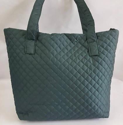 Дутая/стеганая зимняя женская сумка темно-зеленая 1100622844, фото 2