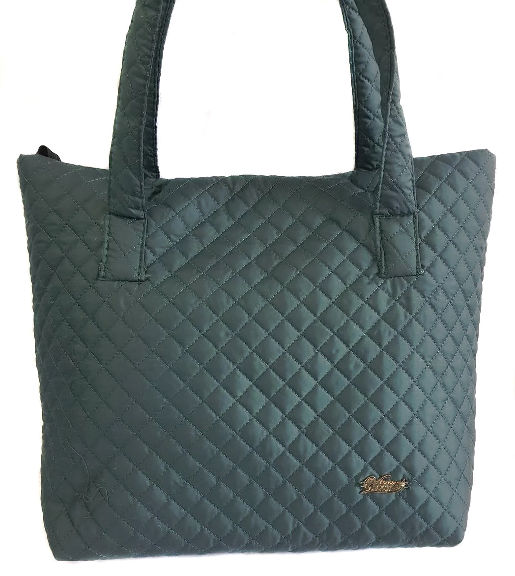 Дутая/стеганая зимняя женская сумка темно-зеленая 1100622844