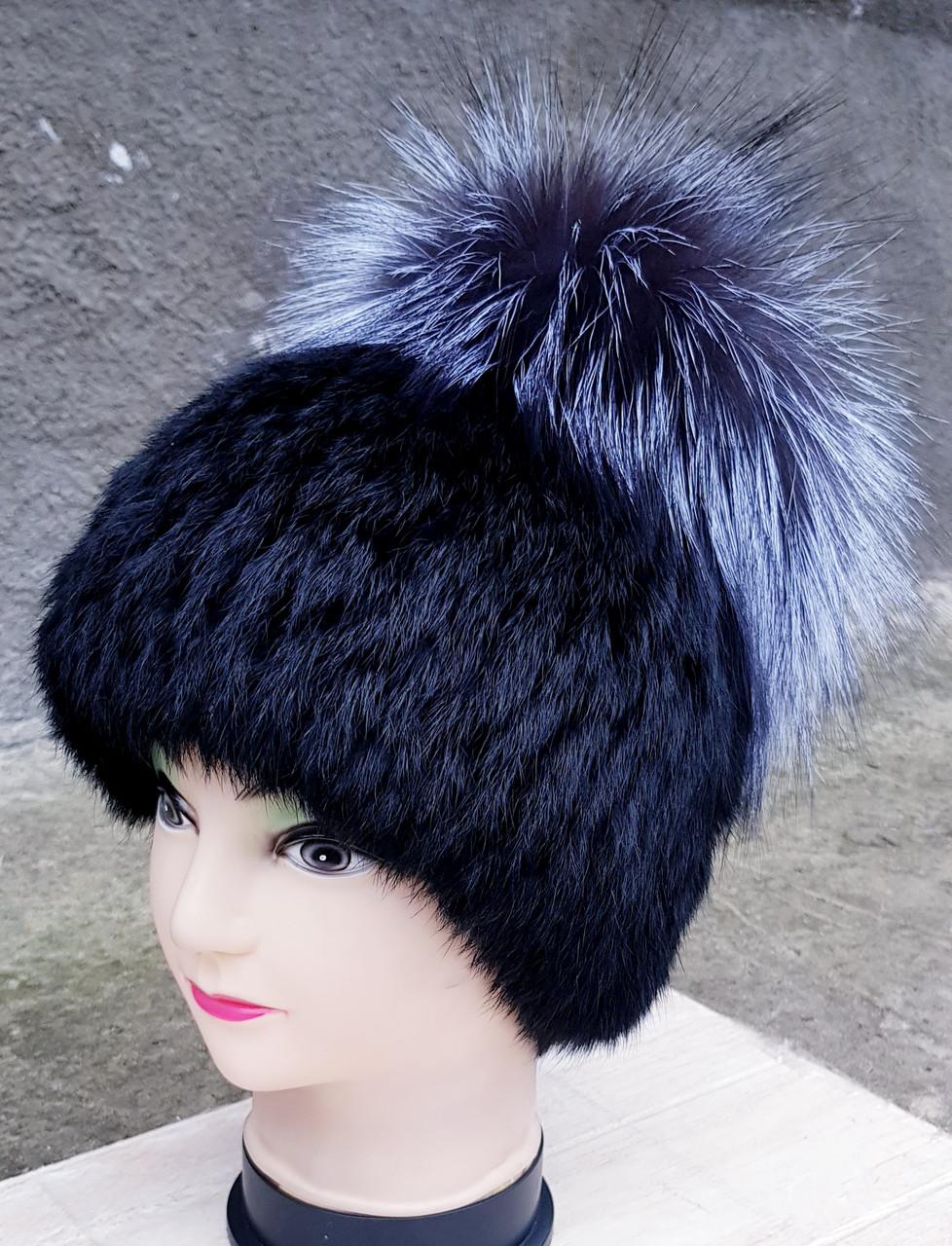 Женская меховая шапка Klaus Маркиза Кубанка Кролик с Бубоном из Чернобурки 55-58 Чёрный (18/145)