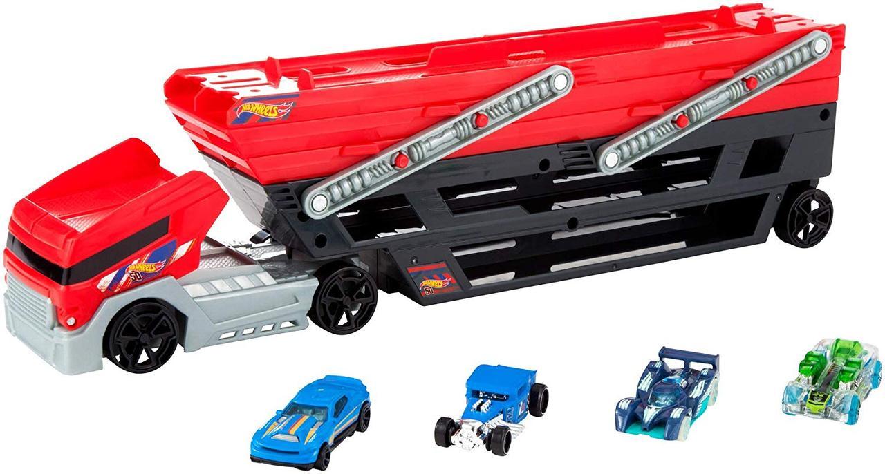 Автовоз перевозчик мегатягач Хот Вилс и 4 машинки Hot Wheels FPM81