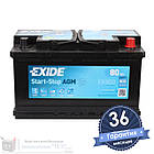 Аккумулятор автомобильный EXIDE AGM 6CT 80Ah, пусковой ток 800А [–|+] (EK800), фото 2