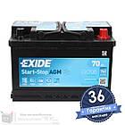 Аккумулятор автомобильный EXIDE AGM 6CT 70Ah, пусковой ток 760А [– +] (EK700), фото 2