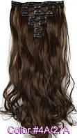 Трессы накладные термо волосы для наращивания на заколках набор из 7-ми прядей волнистые цвет  4A/27A