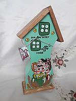 Ключница-копилка домик на 2 ключа 36 см. Дерево роспись, фото 1