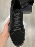 Зимние мужские кожаные Ботинки Armani синие Качество натуральная кожа Трендовые Армани реплика, фото 4