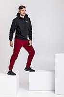 Спортивный костюм Puma мужской, зимний, верх - худи, черно - бордовый, трехнитка на флисе, код MG-2121
