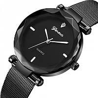 Женские часы Geneva GUCCI black+silver