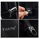 Рюкзак чоловічий Tigernu T-B3105 міський спортивний, з відділом для ноутбука + ЗАМОК (чорний з оранжевим), фото 6