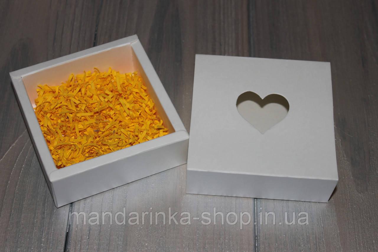 Коробка квадрана кришка - дно з серцем (біла)