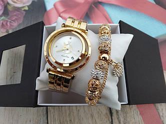 Набор женские наручные часы + Браслет (В Подарочной Коробке)