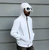 Мужская кофта-худи C.P. Company белого цвета с очками